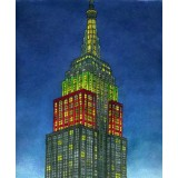 Empire State Building, Winter Night watercolor