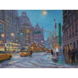 Heading North on Broadway at West 71st Street, Dusk Snow