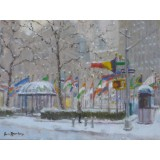 Snow at Rockefeller Center and West 50th St
