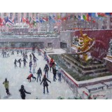 Snowy Day Skaters at Rockefeller Center